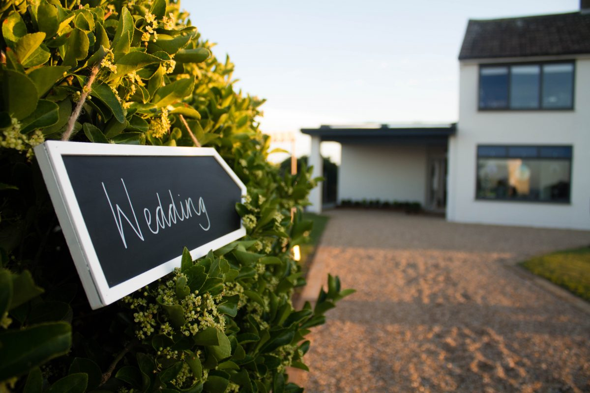 wedding sign in venue driveway