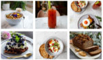 granola with edible petals, bloody mary, waffles with blueberries, chilli eggs, banana bread, eggs on toast